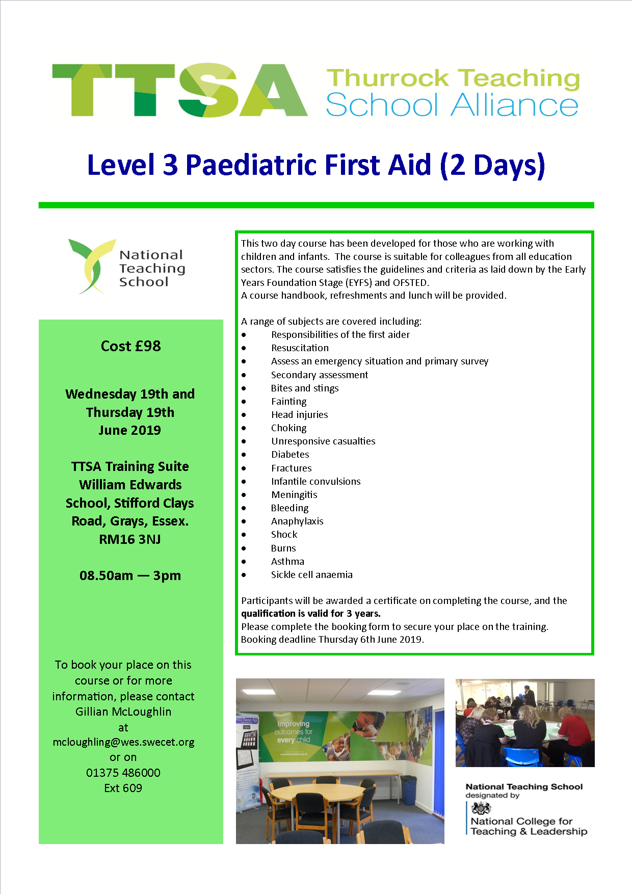 Level 3 Paediatric First Aid (2 Days) – Thurrock Teaching